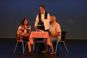 Esmeralda & Adam on a blind date and Phil, the weirdest waiter ever.