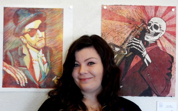 "Monique Montoya, visual arts teacher and printmaker. She particularly enjoyed making ""Sax Man"" which is based on her brother, a sax player."