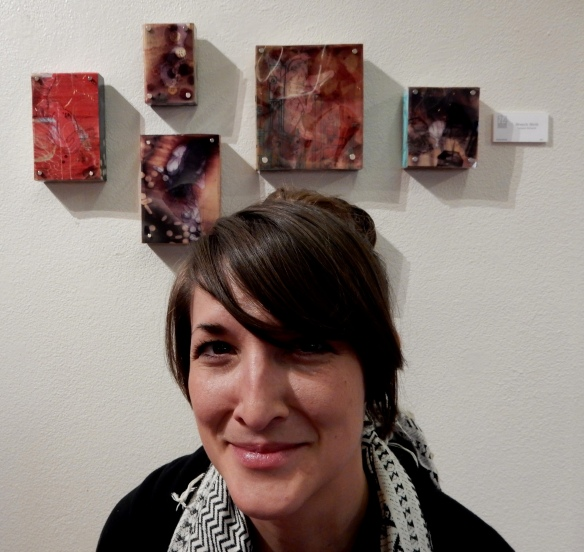 Tamara Schardt, Visual Arts Teacher and Mixed Media Artist. According to Tamara her Breech Birth grouping is an exploration of how memory shifts and changes over time--that memory is a layered process.