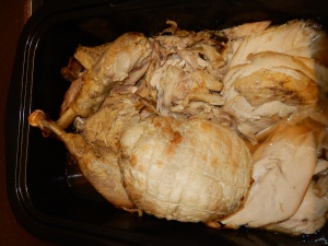 A slightly strange looking turkey but a happy one (at least before he was cooked)  because of his free-range life.