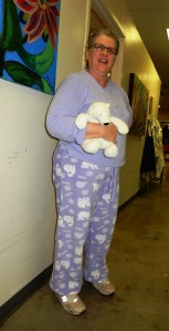 And what parade of fasion jammies would be complete without Karen and her bunny or bear or whatever it is.